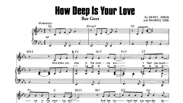 Image of the sheet music from the Bee Gees song How deep is your love